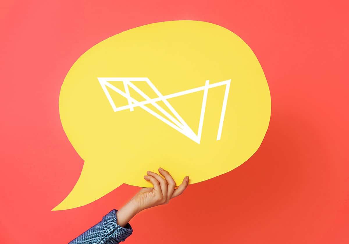 Hand with cartoon speech bubble, feedback, apartment internet.